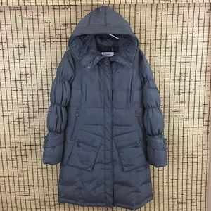Calvin Klein Hoodie Puffer Coat Quilted Gray Small